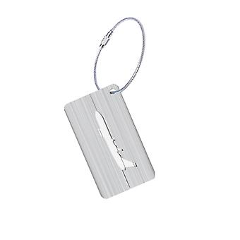 Aluminium luggage tag with airplane motif-Silver