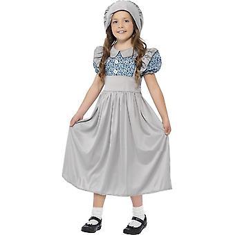ビクトリア朝の学校の女の子のコスチューム、中年齢 7-9