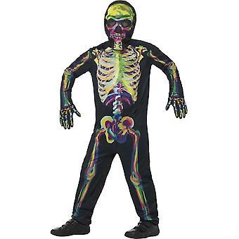 Bagliore nel buio Costume scheletro, Multi-Coloured, con tuta, maschera e guanti