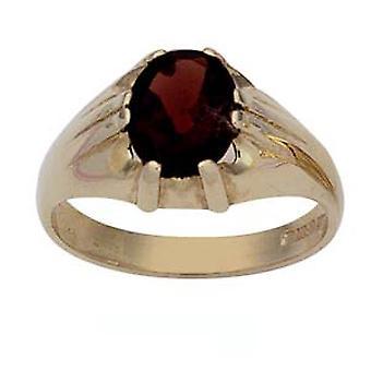 9ct Gold oval solitaire garnet set Dress Ring Size Z