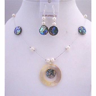 Abalone Shell Biżuteria Ustaw okrągły wisiorek Shell / Komplet Naszyjnik Pearl słodkowodne