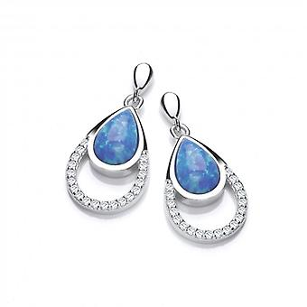 Cavendish French Silver, CZ and Blue Opalique Teardrop Earrings