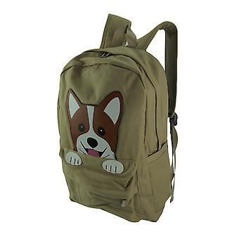 Sleepyville Critters Corgi Dog Cotton Canvas Backpack