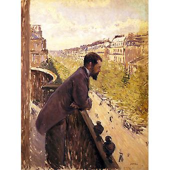 The man stand on the terrace, Gustave Caillebotte, 50x38cm