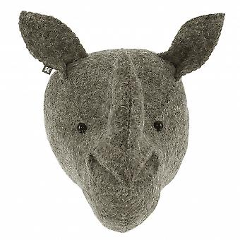 Fiona Walker England Mini Rhino Felt Animal Wall Head