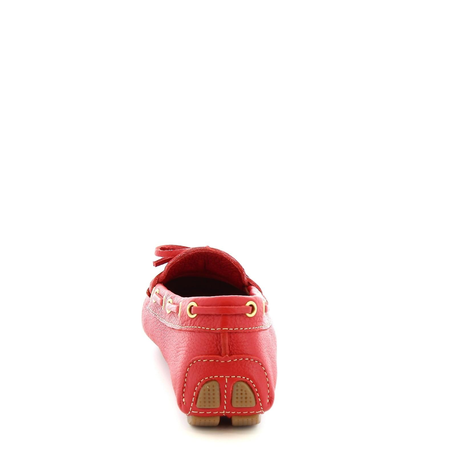 Leonardo Shoes women's handmade boat mocassins in red calf leather