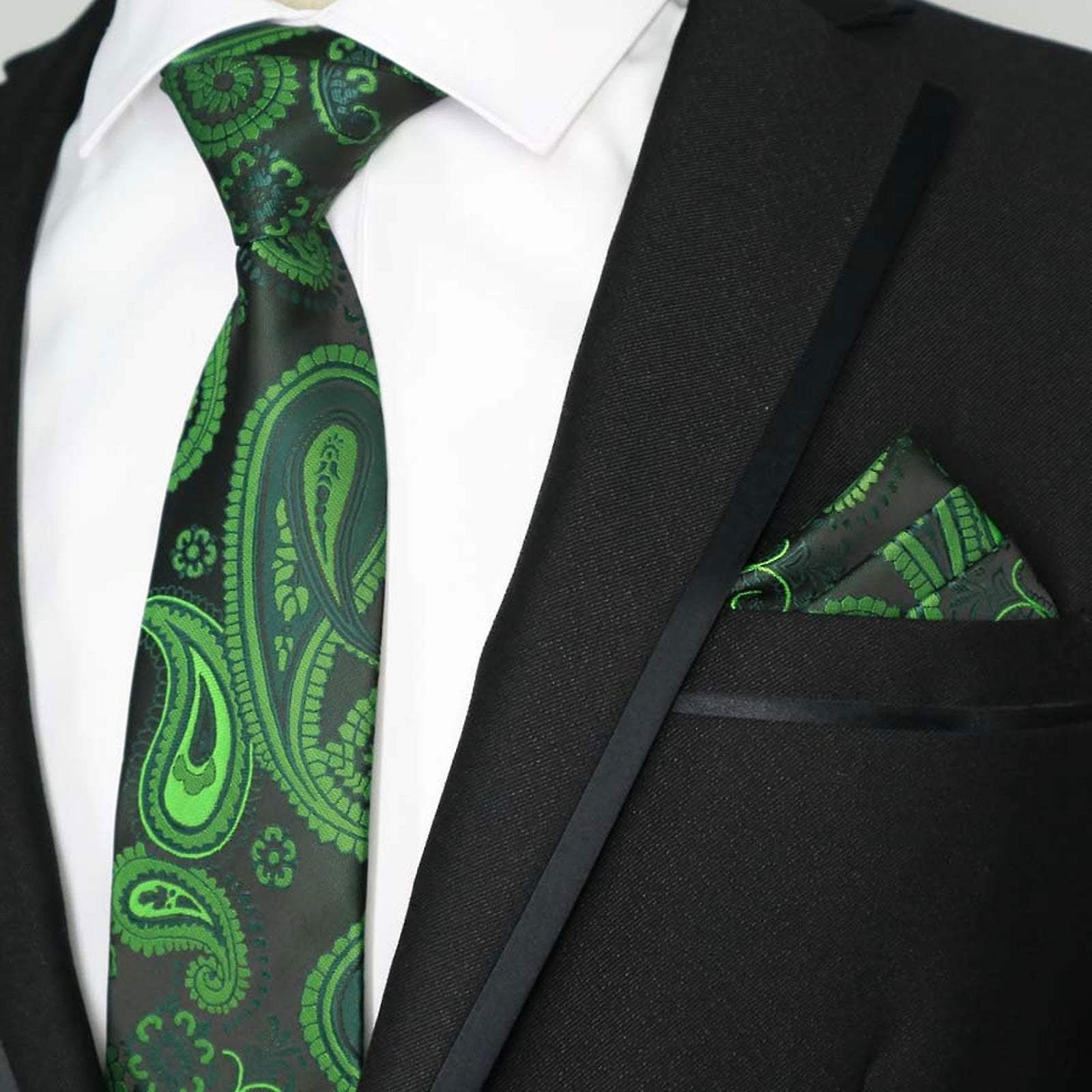 Green & black two tone swirl paisley pocket square set