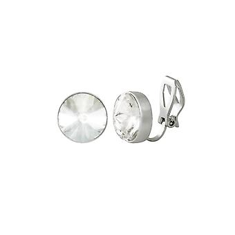 Eternal Collection Treasure Clear Crystal Silver Tone Stud Clip On Earrings