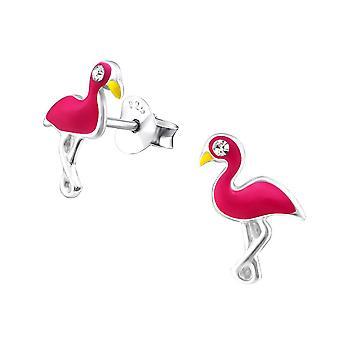 Children's Sterling Silver Pink Flamingo Stud Earrings