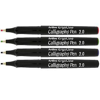 Artline Ergoline kalligrafi diverse farge penn sett 2,0 mm spiss