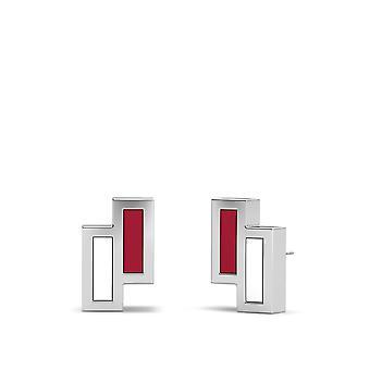 スタンフォード大学スターリングシルバー非対称エナメルスタッドイヤリング赤と白