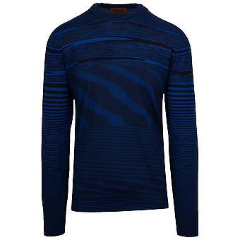 MISSONI Blue & Black Striped Knitted Long Sleeve T-Shirt