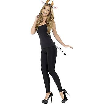 Adult Cow Kit Black & White with Headband & Tail, Party Animals Fancy Dress