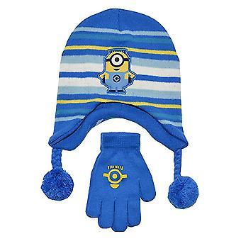 Beanie Cap - Despicable Me 3 - Minions Blue/White Stripe Hat & Glove Set New 135717