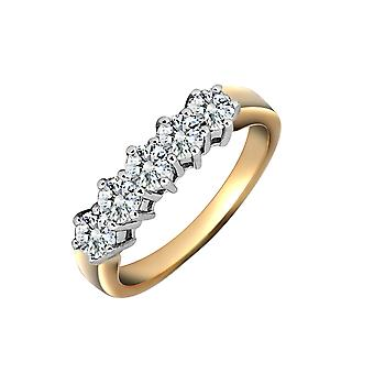 Jewelco London Ladies Solid 18ct Yellow Gold Cluster Set Round G SI1 1ct Diamond 5 Stone Eternity Ring 5mm