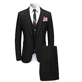Allthemen Mens 3 peças casual Slim Fit listrado blazer terno & Vest & pants