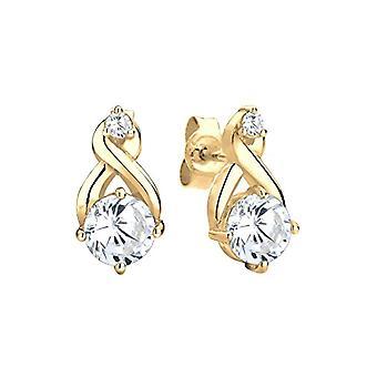 Goldhimmel Silver Pin Earrings 925 with White Zirconia