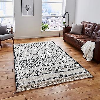 Tapis noir blanc Rectangle tapis Plain/presque plaine Boho 5402