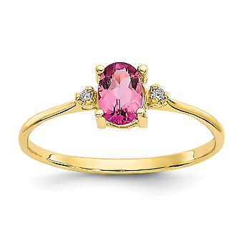 10k Yellow Gold Oval Polished Prong set Diamond Pink Tourmaline Ring Size 6 Jewelry Gifts for Women