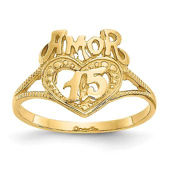 14k Yellow Gold Solid Open face 15 Amor Heart Ring Size 6 Jewelry Gifts for Women - 1.8 Grams