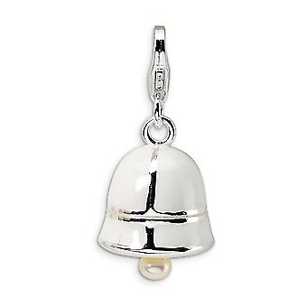 925 Sterling Silver Moveable Open bottom Rhodium plated Fancy Lobster Closure Freshwater Cult Pearl White Enamel Bell Wi