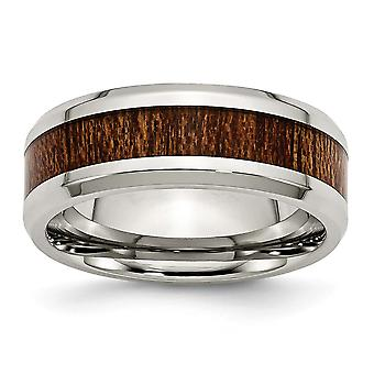Stainless Steel Engravable Polished Brown Wood Inlay Enameled 7.80mm Ring Jewelry Gifts for Women - Ring Size: 8 to 13