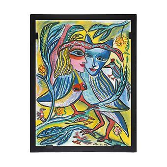 Glass vision-painting-art glass-Turtur doves Ulrica Hydman Vallien