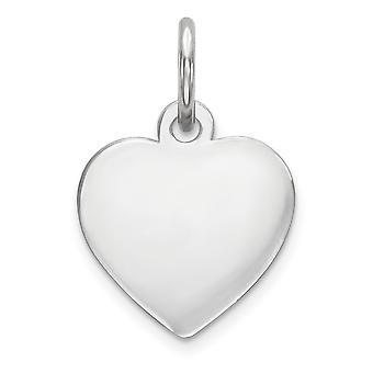 14 k White Gold Solid polerad vanligt.009 mätare Engraveable hjärta Charm -.2 gram