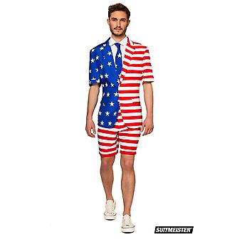 Mister USA America Summer Suit avec Red Shorts Suitmaster Slimline Economy 3 pièces