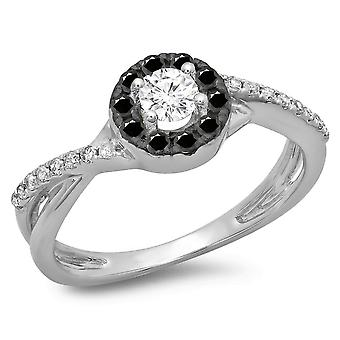 Dazzlingrock Collection 0.50 Carat (ctw) 10K Round Cut Black et White Diamond Halo Engagement Ring 1/2 CT, White Gold