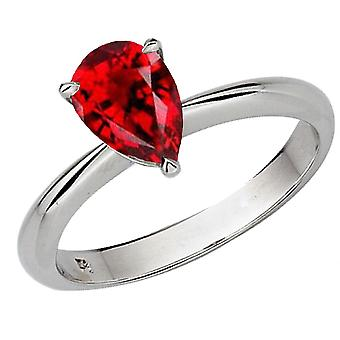 Dazzlingrock Collection 14K 9X7mm Pear Cut Garnet Solitaire Bridal Engagement Ring, White Gold