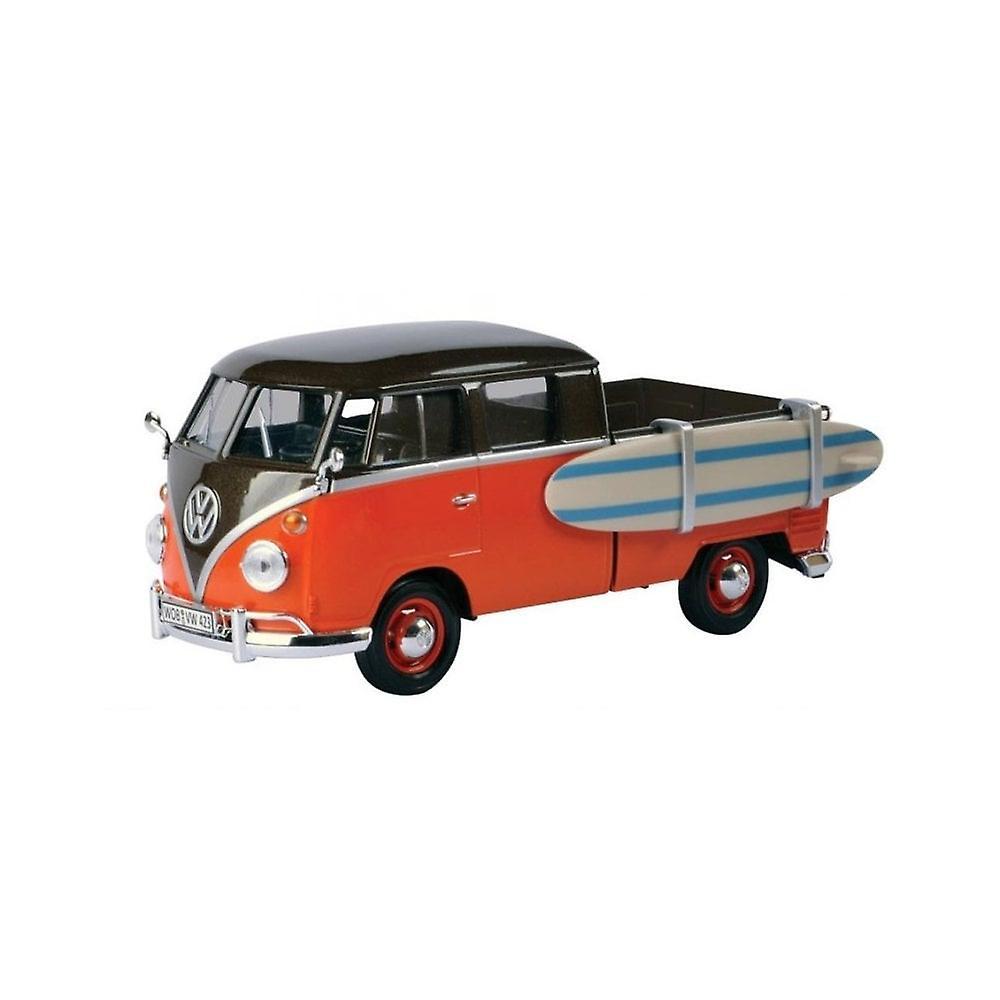MotorMax  Motormax Volkswagen VW Type 2 (T1) Double Cab Red & Brown With Surfboard 1:24