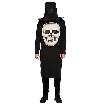 Mens Jumbo Skull Face Halloween Fancy Dress Costume (Medium)
