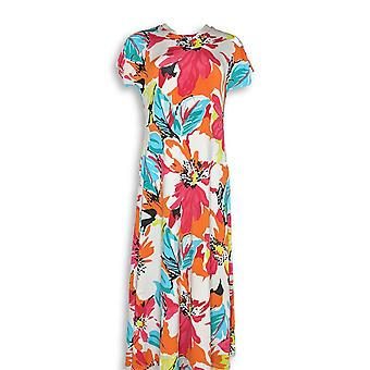 Attitudes by Renee Petite Dress S Como Jersey Pull On Floral White A347505