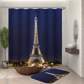 Verlichte Eiffel toren douche gordijn