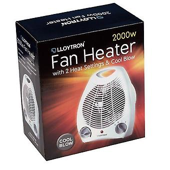 Lloytron F2001WH Staywarm 2000W Upright Fan Heater 2 Heat Settings and Cool Blow, White