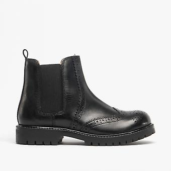 Shuperb Hutch Kids Leather Brogue Chelsea Boots Black