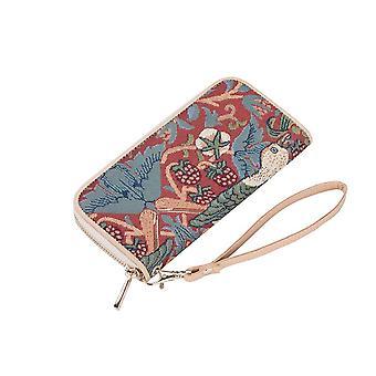 William Morris-Strawberry Thief rode RFID geld portemonnee door signare tapijt/lzip-strd