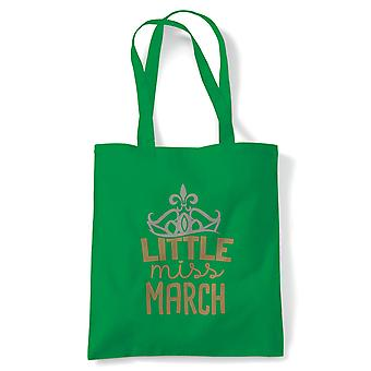 Little Miss March Tote | Happy Birthday Celebration Party Getting Older | Reusable Shopping Cotton Canvas Long Handled Natural Shopper Eco-Friendly Fashion