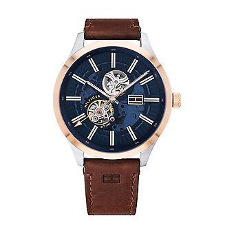 Tommy Hilfiger horloge 1791642-Mech-automatische vak staal blackhead blauw bruin lederen armband