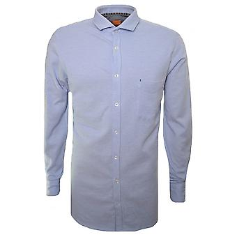 هوغو بوس عارضة هوغو بوس البرتقال الرجال & apos;s سليم صالح فتح الأزرق Cattitude قميص طويل الأكمام