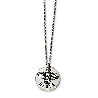 Stainless Steel Polished and Enameled Bumble Bee Brave Necklace 22 Inch Jewelry Gifts for Women