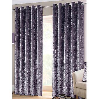 Belle Maison Lined Eyelet Curtains, Crushed Velvet Range, 46x72