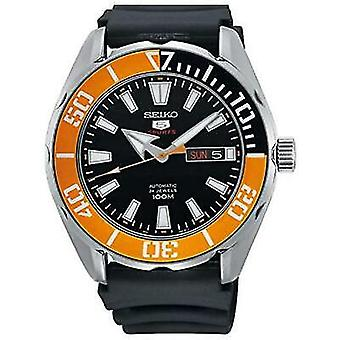 Seiko 5 Sports Black Silicone Strap Orange Bezel Automatic Men's Watch SRPC59K1