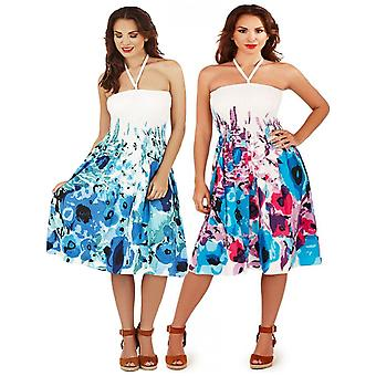 Pistachio Women's Cotton Floral Print Strapless Summer Dress / Skirt