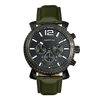 Morphic M89 Series Chronograph Leather-Band Watch w/Date - Olive/Black