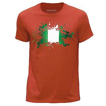 STUFF4 Men's Round Neck T-Shirt/Nigeria/Nigerian Flag Splat/Orange