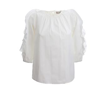 Red Valentino Tr0aab300es001 Women's White Cotton Blouse