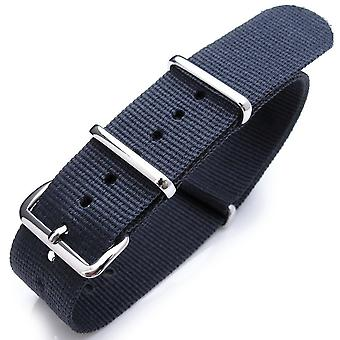 Strapcode n.a.t.o watch strap 20mm, 21mm or 22mm heat sealed heavy nylon polished buckle - navy blue