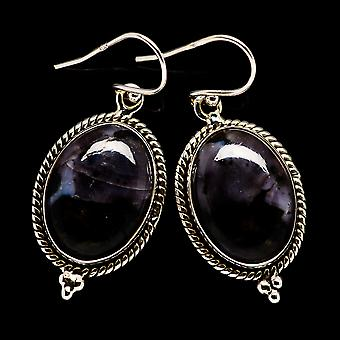 "Gabbro Stone Earrings 1 1/2"" (925 Sterling Silver)  - Handmade Boho Vintage Jewelry EARR395796"